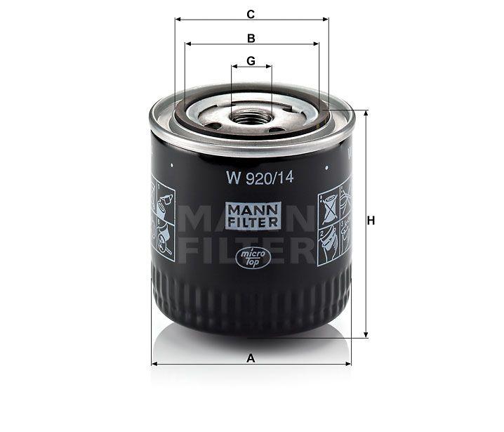 Olejový filtr Mann-Filter W 920/14