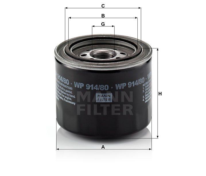 Olejový filtr Mann-Filter WP 914/80