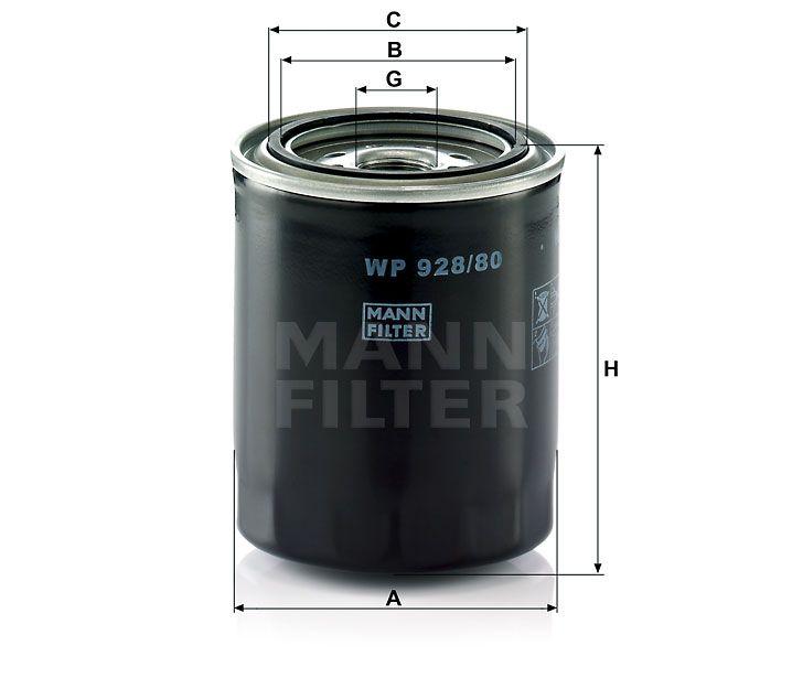Olejový filtr Mann-Filter WP 928/80